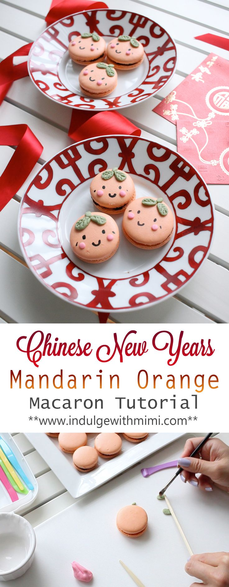 Cute Mandarin Faces Macarons filled with Orange Chocolate Ganache