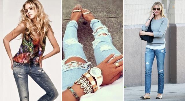 Рваные узкие джинсы светлые