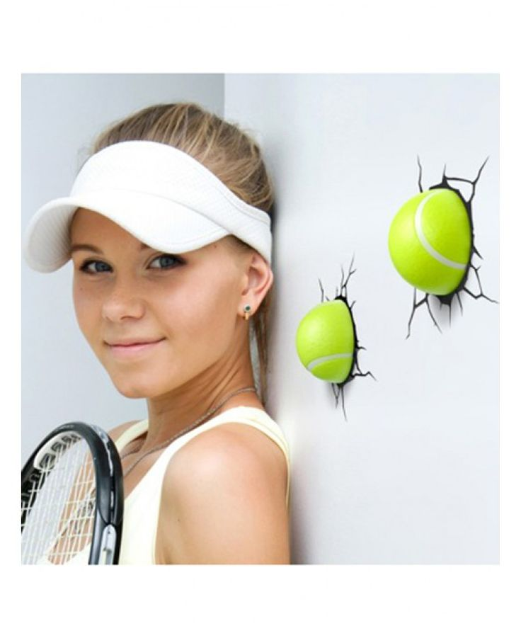 Cool Tennis Ball 3D LED Wall Lights that look like they have been smashed through the wall!