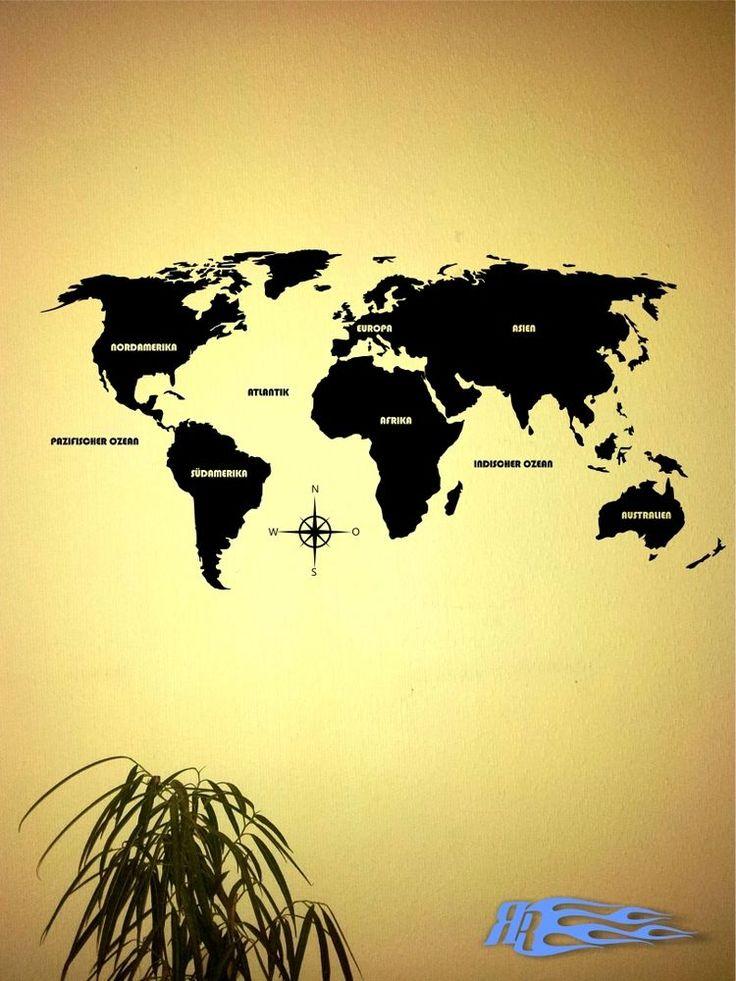 Simple Wandtattoo Weltkarte World Map Wandaufkleber Kontinent Deko