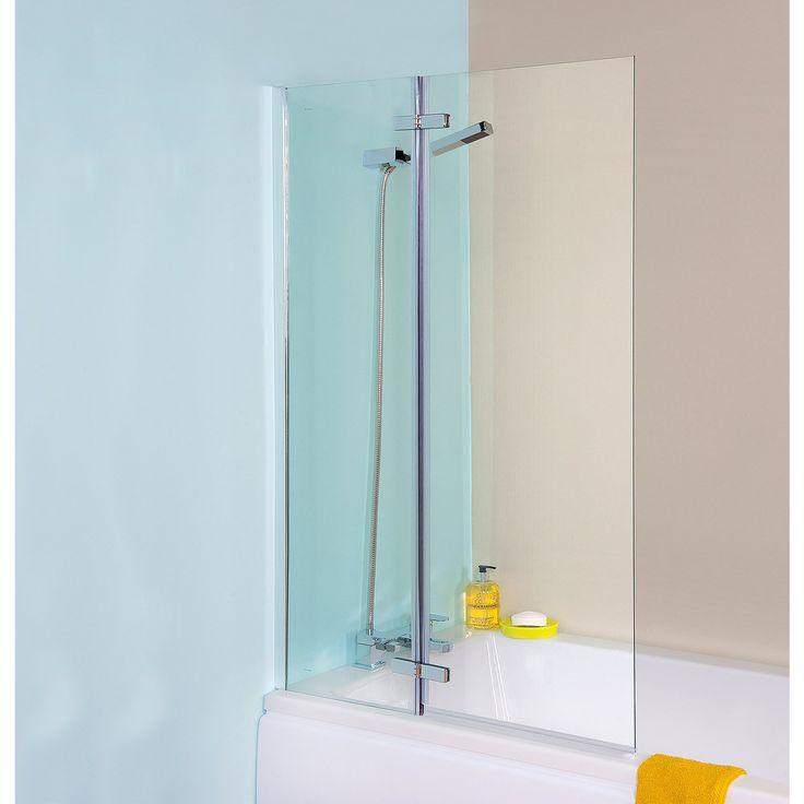 Premier Ella Straight Hinged Bath Screen, 1400mm High x 745mm Wide, 5mm Glass-1