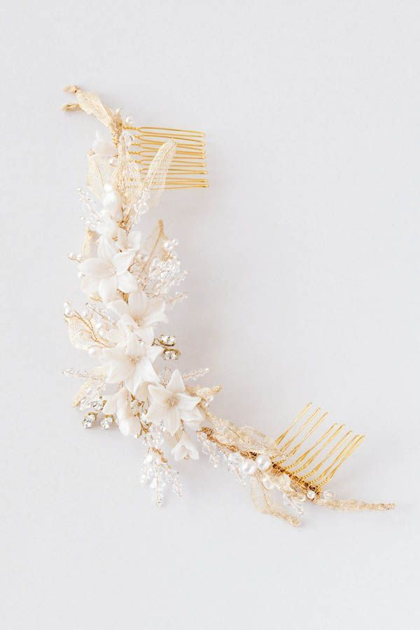 AMARIS | Цветочный свадебный головной убор с золотыми листьями