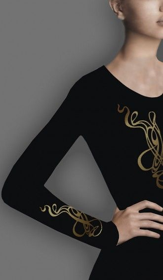 Metallic Gold Spaghetti Black long sleeve tee