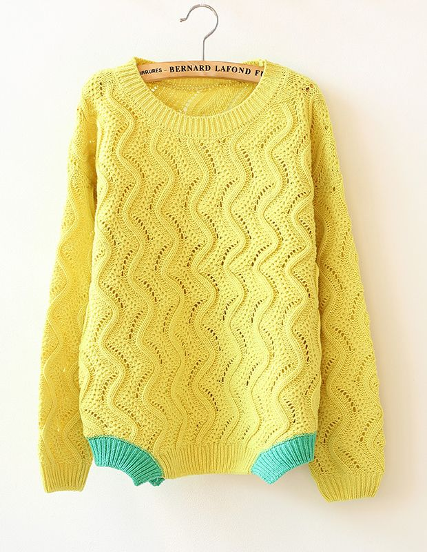 Yellow Long Sleeve Hollow Knit Sweater US$34.17