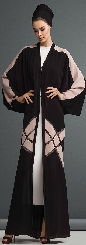 Mauzan abaya Dubai.Work :Colored Fabric inserted design Fabric :Black + Colored Crepe