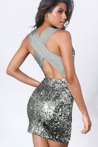 Sequin X-Back Dress