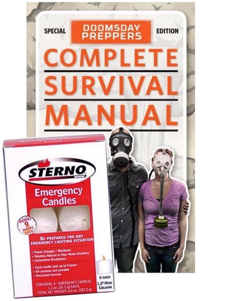 Survival Candles Emergency Light Doomsday Manual Preppers Apocalypse Book #Sterno