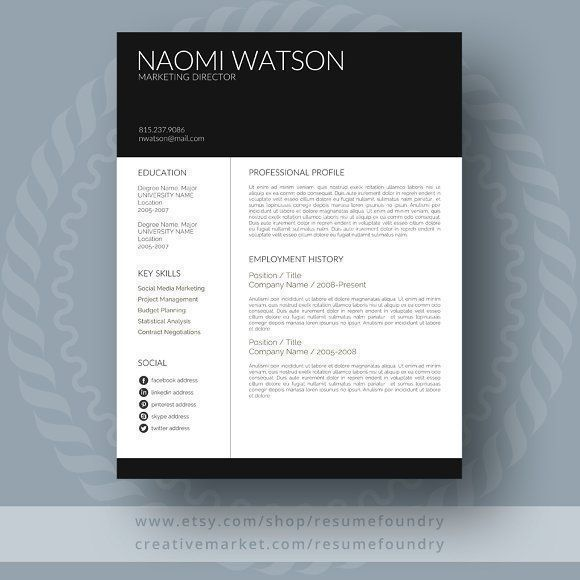 Modern Resume Template by ResumeFoundry on @creativemarket Professional printable resume / cv cover letter template examples creative design and great covers, perfect in modern and stylish corporate business design. Modern, simple, clean, minimal and feminine style. Ready to print us letter and a4 layout inspiration to grab some ideas. In psd, indd, docs, ms word file format.