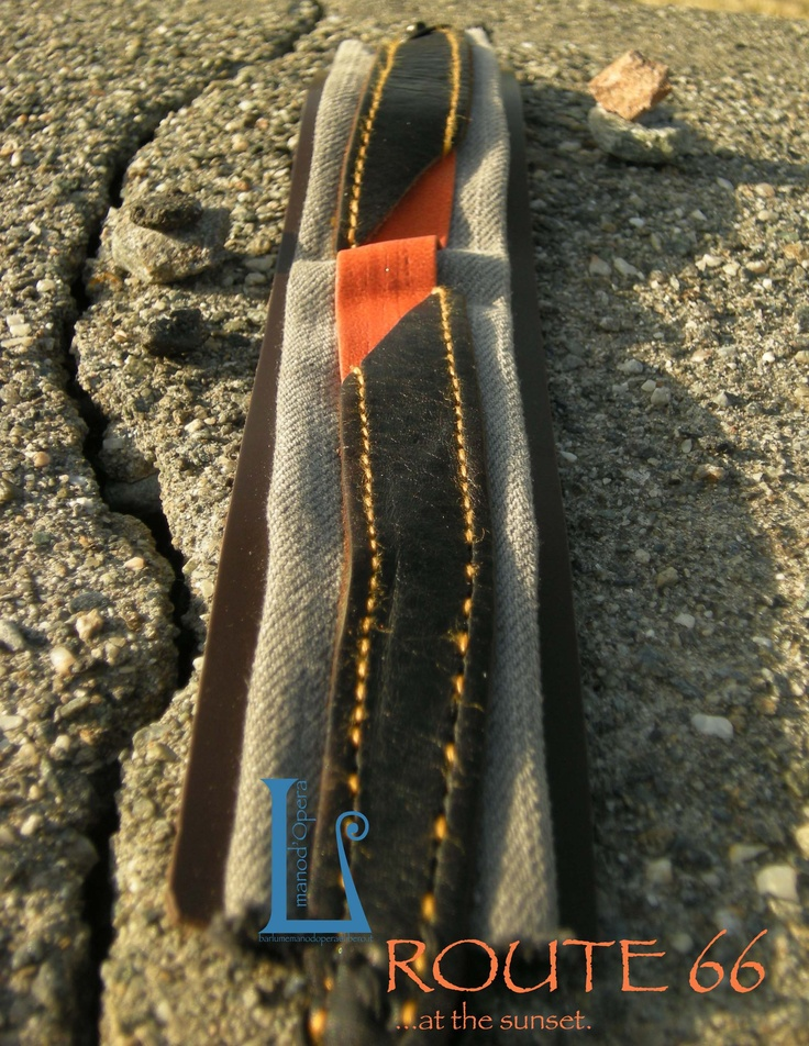 Grey denim, black,dark brown leather and eco-orangeleather. Handmade by BarlumeManod'Opera.