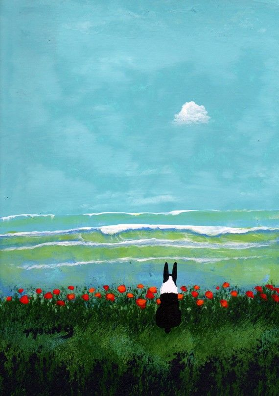 Boston Terrier dog art PRINT of Todd Young painting ROLLING WAVES on Etsy, $13.50