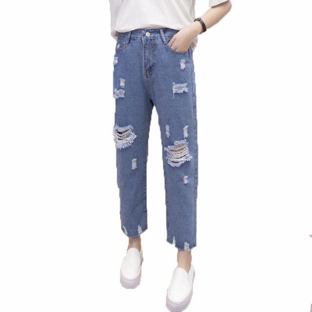 2017 New loose harem Pants Vintage High Waist Jeans new womens hole tassle pants plus size female cowboy hollow out pants mujer