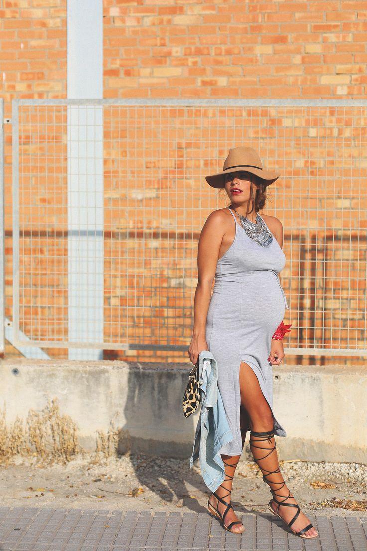 11. long grey bodycon dress denim vest gladiator sandals - jessie chanes - pregnancy