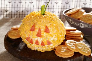 Cheesy Jack-o'-Lantern - cheese ball - I use this recipe anytime I make a cheese ball whether it's Halloween or not!  Just omit the pepperoni face & stem and it's just a regular old tasty cheese ball ; )