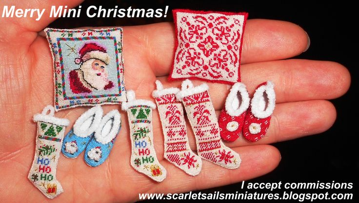 Dollhouse Miniature Christmas Needlework for your Dollhouse!