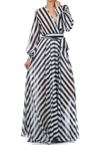 Black White Stripe Full Sweep Chiffon Maxi Dress Wrap Sheer Long Skirt Vtg Style | eBay