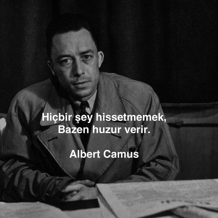 Hiçbir şey hissetmemek, bazen huzur verir.   - Albert Camus