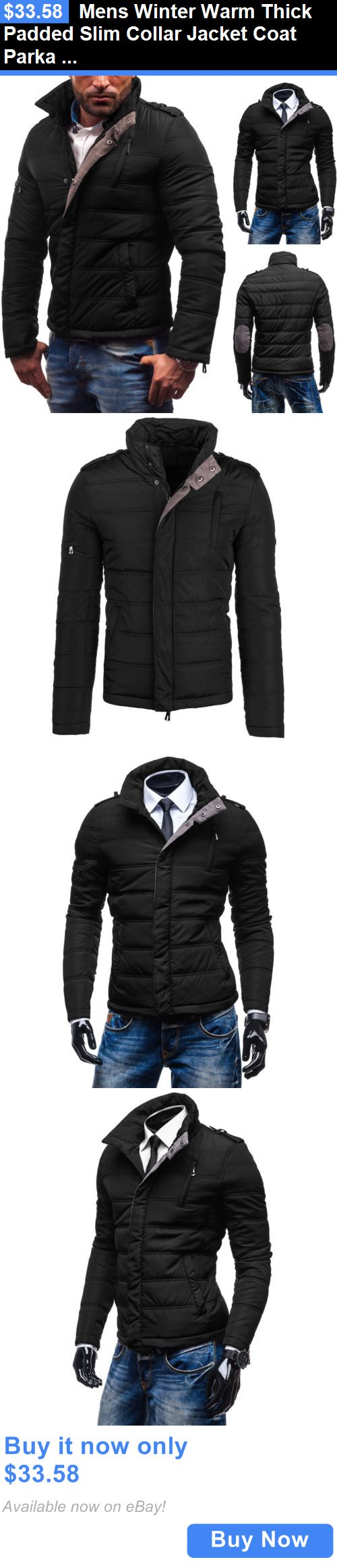 Men Coats And Jackets: Mens Winter Warm Thick Padded Slim Collar Jacket Coat Parka Winter Outwear Tops BUY IT NOW ONLY: $33.58