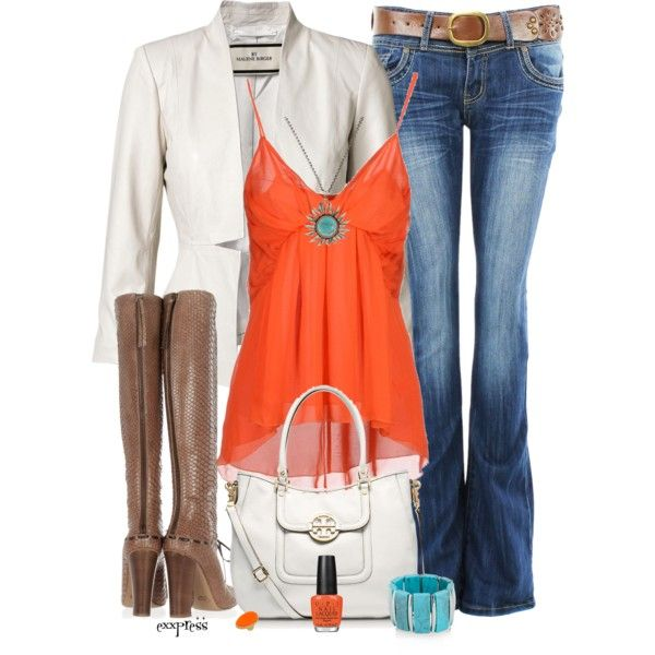 Turquoise and Orange by exxpress on Polyvore