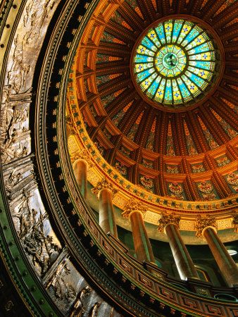 Interior of Rotunda of State Capitol Building, Springfield, United States of America Photographic Print