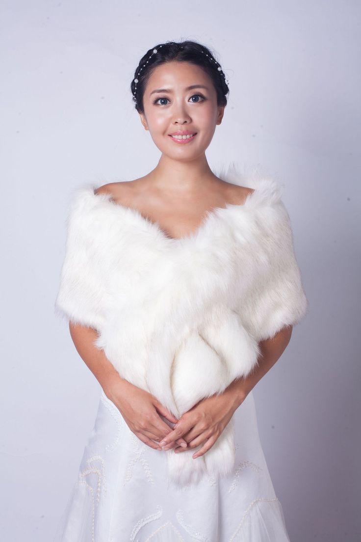 Snow White Wedding Bridal Faux Fur Stole Wrap Shawl Cape