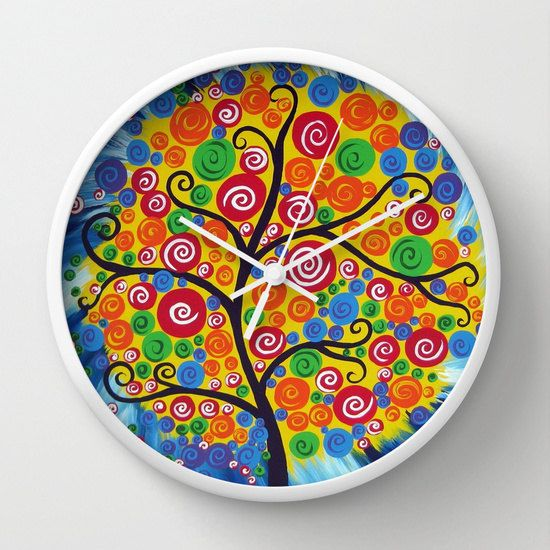 wall clock analog clock bedroom clock tree clock by SuchFlair