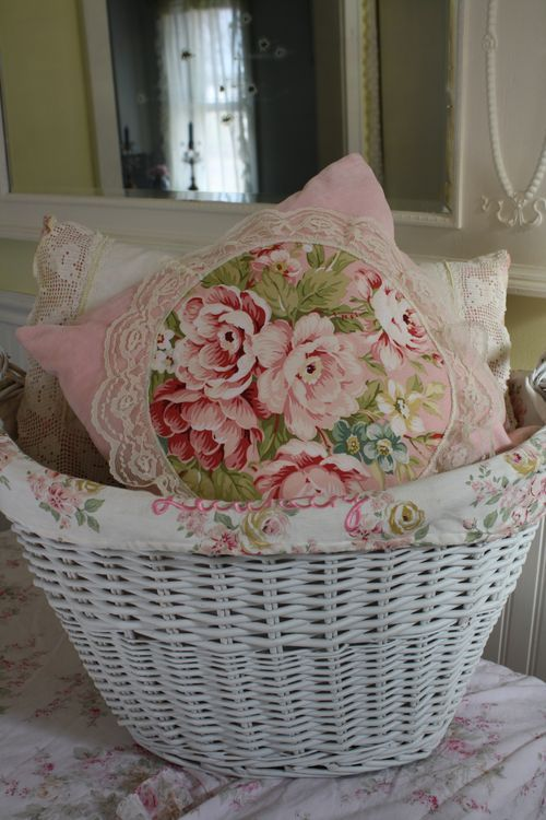 pillows in basket. Not Too Shabby Pinterest Shabby chic, Shabby chic cottage and Flower