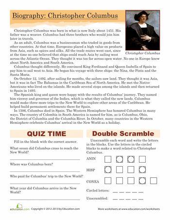 Worksheets: Christopher Columbus Biography