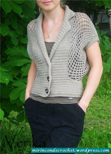 Crochet gray top ❤️LCT-MRS❤️ with diagrams.