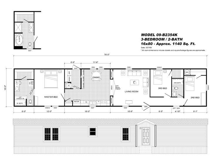 Interesting Ideas 16x80 Mobile Home Floor Plans Champion