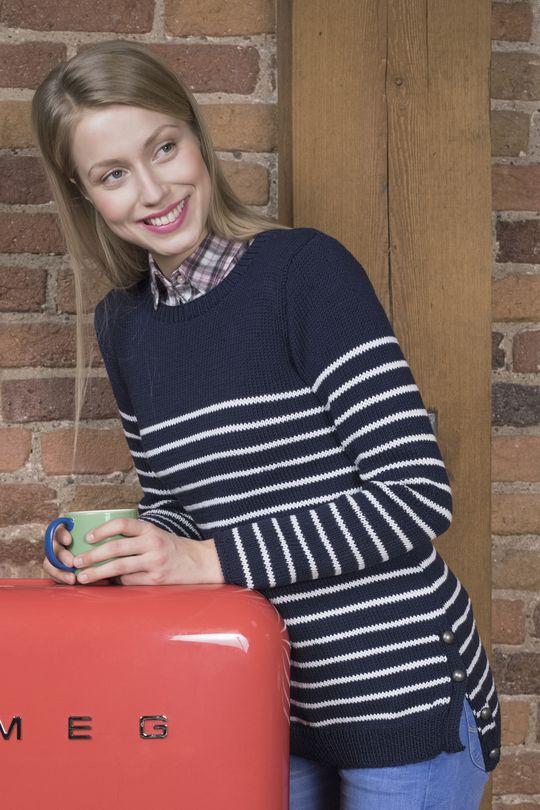 Naisen raidallinen neulepusero Novita Puuvilla-bambu   Novita knits