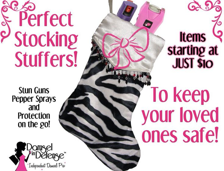 DAMSEL IN DEFENSE ~ Stocking Stuffers and Secret Santa gifts starting at just $10!  ~ Caitlin Dimas ~ Independent Damsel Pro  Stun Guns ~ Pepper Sprays ~ Personal Security ~   caitlindimas11@gmail.com  ~ www.facebook.com/sassydamsels