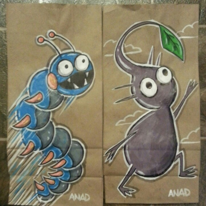 20130117 #sonicthehedgehog #sandworm and #purple #pikmin #sketch #lunch #bags of my #sons choice in characters. #anad #school #videogames #art #doodle #kids #parents #dad #boys #comics #thursday #tv