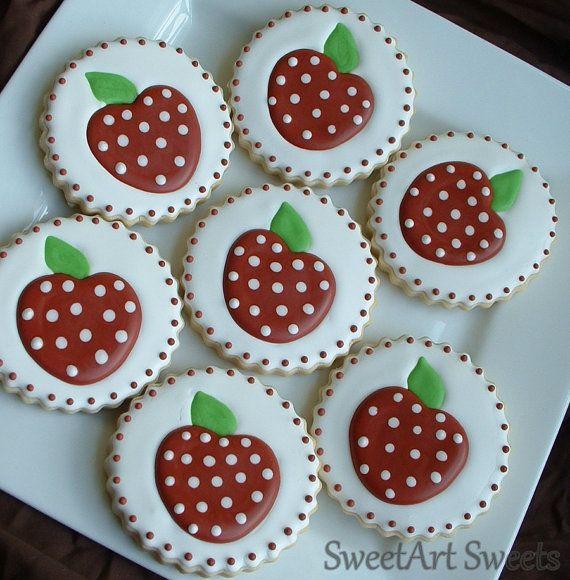 Apple cookies  1 dozen  teacher gifts by SweetArtSweets on Etsy