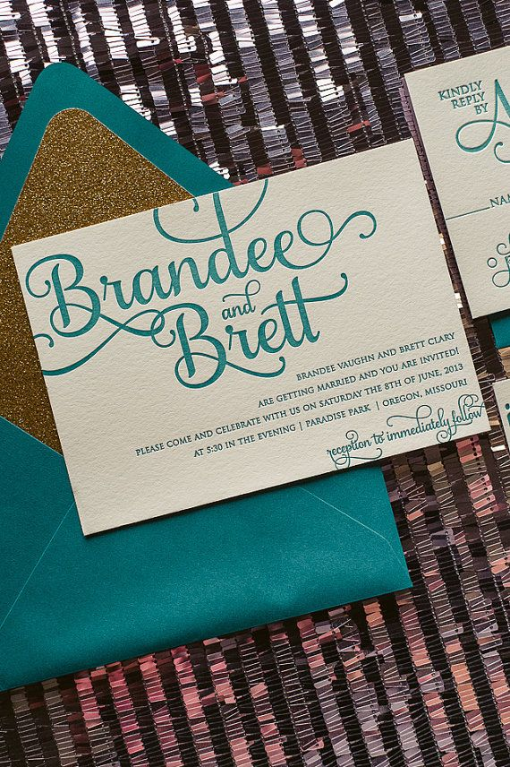 Peacock Teal and Gold Glitter Calligraphy by