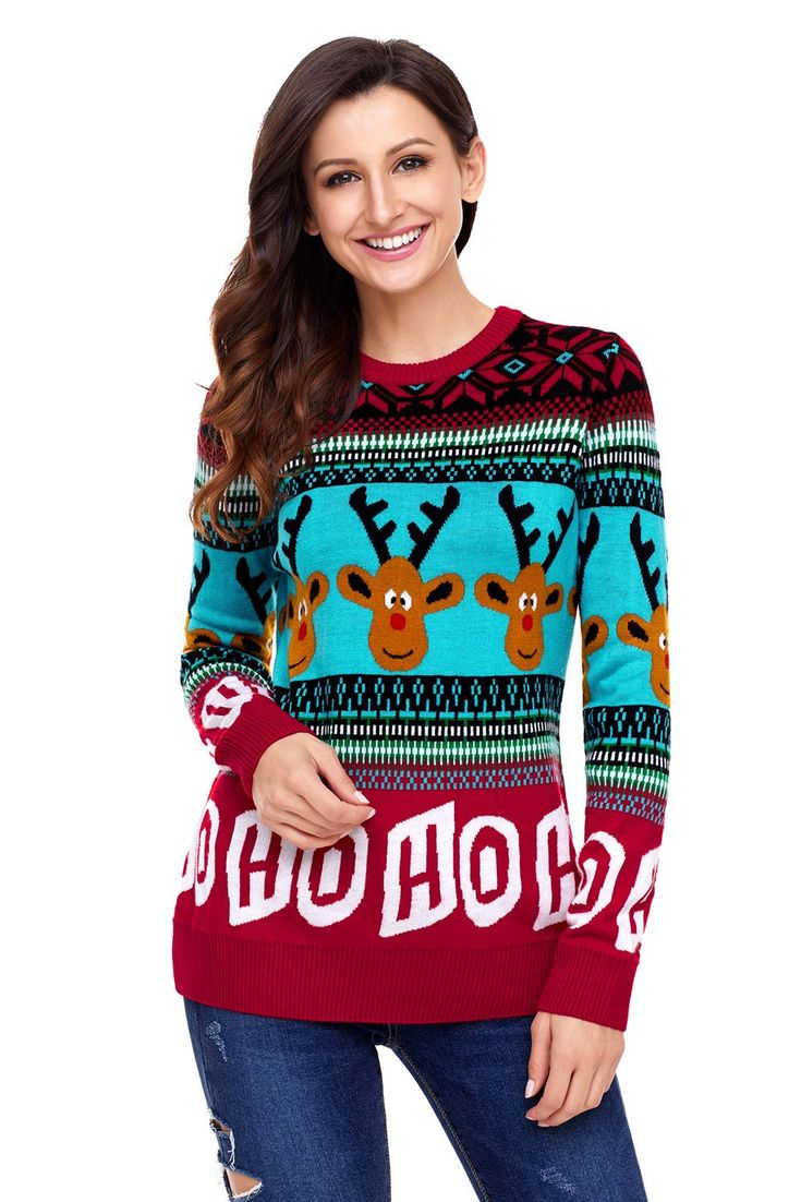 Ready to ship: Chicloth Cartoon .... http://chicloth.com/products/chicloth-cartoon-reindeer-ho-ho-ho-christmas-sweater?utm_campaign=social_autopilot&utm_source=pin&utm_medium=pin