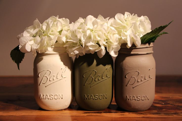 Chalk Paint Mason Jar Trio! Get 10% off with coupon code: PINTEREST10 http://etsy.me/1K1akvD