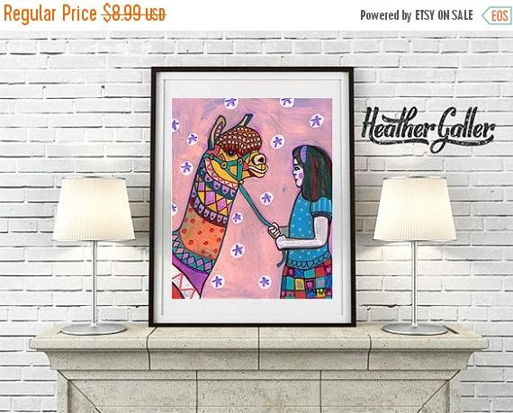 35% Off Today- DIGITAL Print File - Llama Art Art Print Poster by Heather Galler Animal Art Girls Decor (HG587)