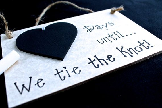 "Engagement gift Idea. Wedding Countdown Sign, ""Days Until..We Tie The Knot!"" (Grey) Engagement Gifts for couples, Engagement Present"