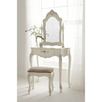 Antique French Dressing Table Set works well alongside our shabby chic bedroom furniture