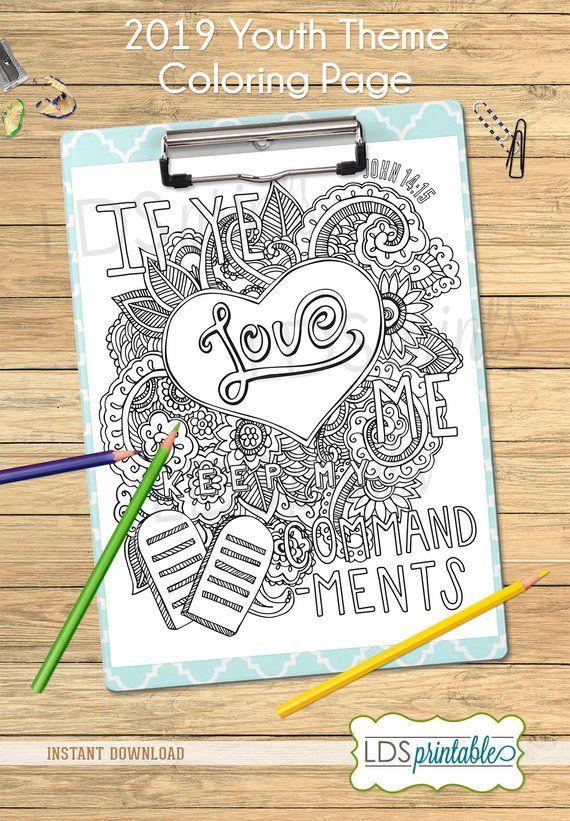 If Ye Love Me Keep My Commandments Coloring Page Etsy Coloring Pages If Ye Love Me Youth Theme