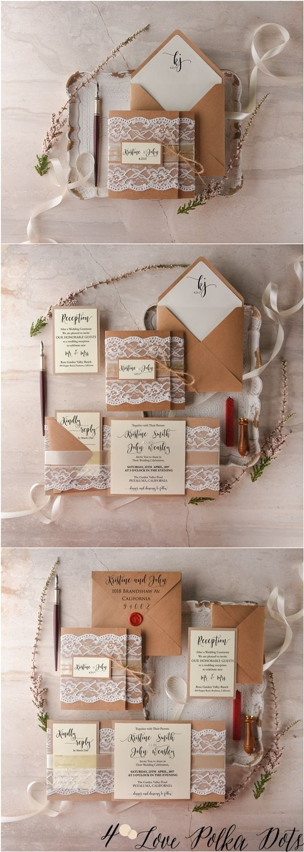kraft wedding invitations plantable wedding invitations Rustic kraft paper and lace wedding invitations rusticwedding countrywedding weddingideas