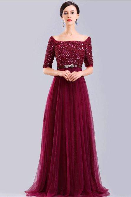 Gorgeous Burgundy Off-the-Shoulder Prom Gown Evening Dresses
