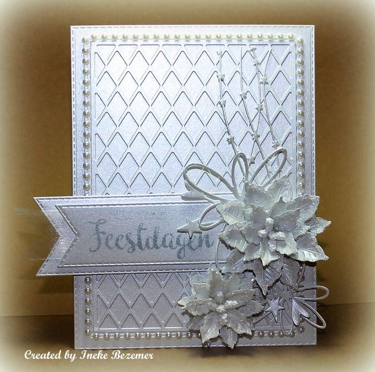 Goedemorgen allemaal, Vandaag ben ik er weer met een kaartje. Het is een hele witte kaart geworden met mooi parelmoer karton en mooie m...