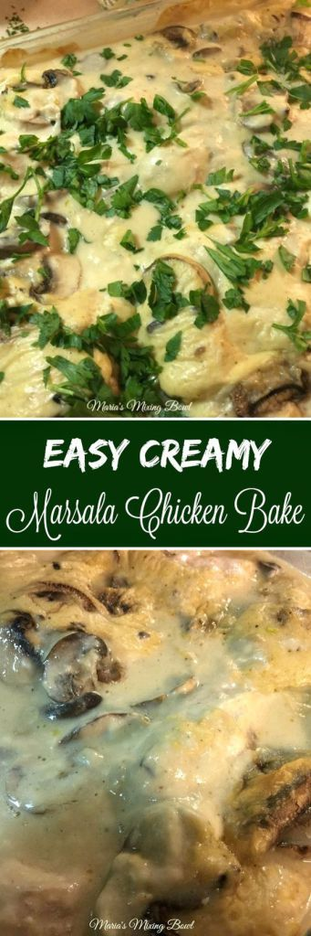 Easy Creamy Marsala Chicken Bake - Simple to make yet such a delicious chicken dinner. Fancy enough for a company dinner, potluck or holiday meal. This is a family favorite!