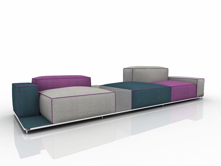 Sofá de tela para jardín con funda extraíble GLOW by Nube Italia diseño Marco Corti