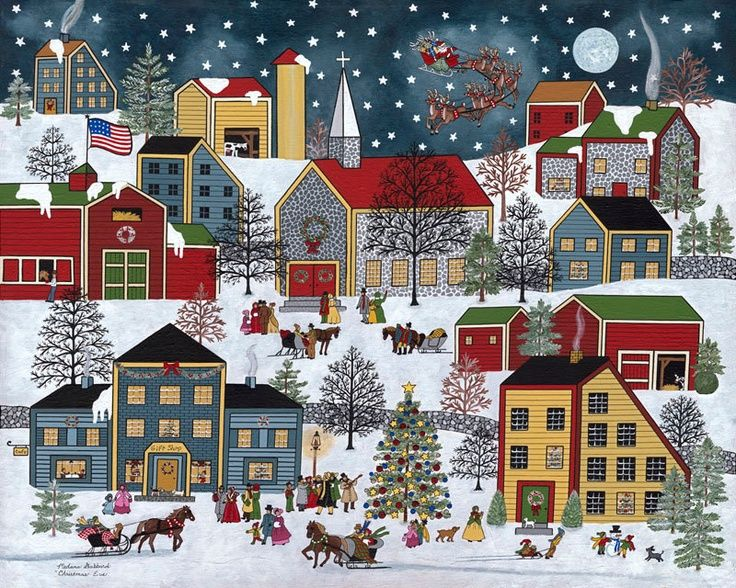 A Christmas Folk Art Painting Village | Folk Art Christmas Santa snow village print by Medana Gabbard titled ...
