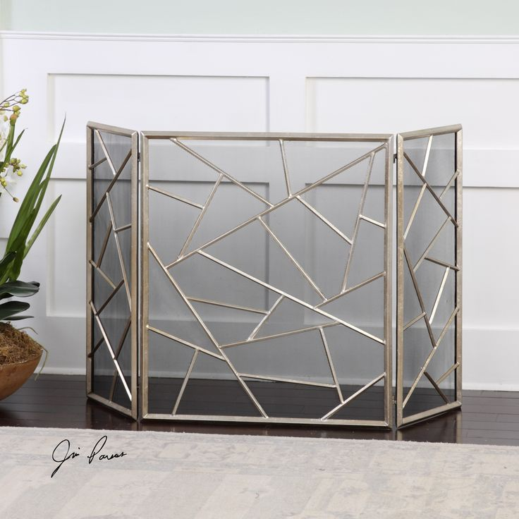 """Decorative, iron fireplace screen features a lightly antiqued silver leaf finish. Center panel is 26"""" wide and each side panel is 13"""" wide. The fireplace screen measures 51'' W x 30'' H x 1'' D. Click"""