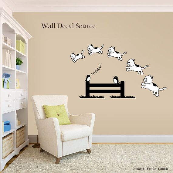 Cat Vinyl Wall Decal Counting Kittens Art by