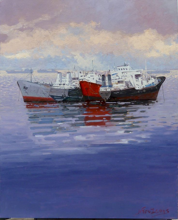 ''Shipwrecks in Elefsina bay'' 60x80cm oil painting by Babis Douzepis