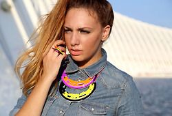 Color abstract necklaces worn with a denim shirt!
